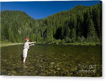 Woman Fly Fishing, Kelly Creek Canvas Print by William H. Mullins