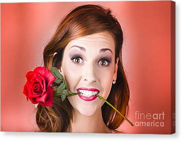 Woman Gripping Red Rose Between Her Teeth Canvas Print by Jorgo Photography - Wall Art Gallery