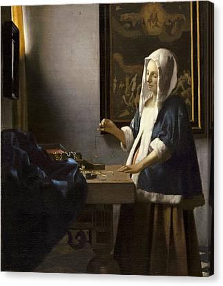 Woman Holding A Balance Canvas Print - Woman Holding A Balance by Jan Vermeer