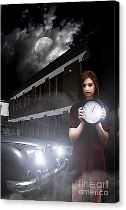 Moonlit Canvas Print - Woman Holding Clock by Jorgo Photography - Wall Art Gallery