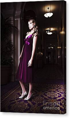 Woman In Hotel Lobby Canvas Print by Jorgo Photography - Wall Art Gallery