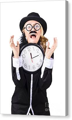 Woman In Panic With Behind Schedule Clock Canvas Print by Jorgo Photography - Wall Art Gallery