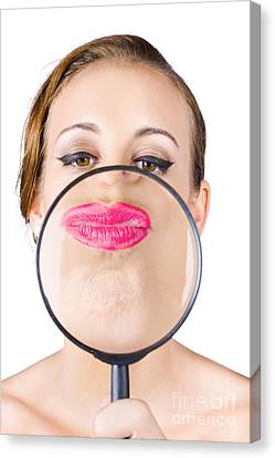Woman Kissing Magnifying Glass Canvas Print by Jorgo Photography - Wall Art Gallery