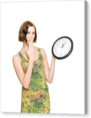 Woman Late For The Time Schedule Deadline Canvas Print by Jorgo Photography - Wall Art Gallery