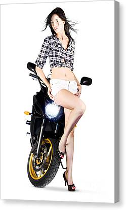 Woman Leaning On A Motorbike Canvas Print by Jorgo Photography - Wall Art Gallery