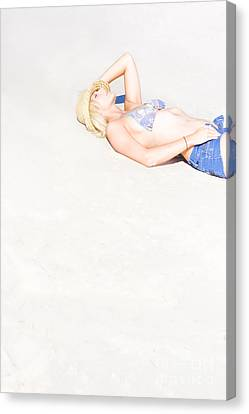 Woman Lying On Sand Canvas Print
