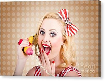Woman On Banana Telephone. Health Eating News Canvas Print by Jorgo Photography - Wall Art Gallery