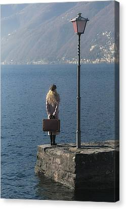 Woman On Jetty Canvas Print