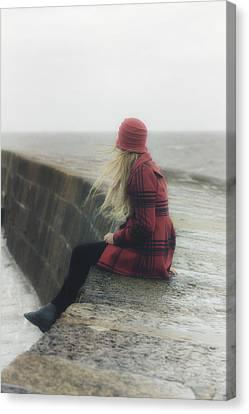 Woman On Pier Canvas Print