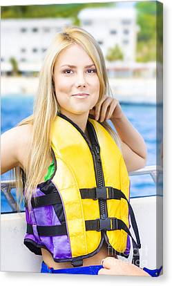 Woman On Sightseeing Boat Tour Canvas Print by Jorgo Photography - Wall Art Gallery