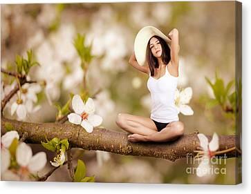 Woman Sitting On Tree Canvas Print by Aleksey Tugolukov