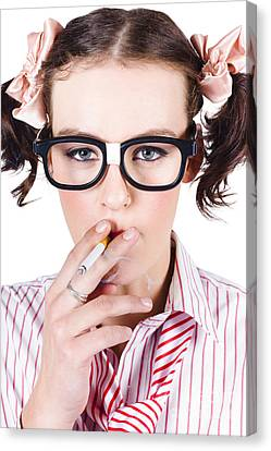 Youthful Canvas Print - Woman Smoking Cigarette by Jorgo Photography - Wall Art Gallery