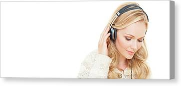 Wavy Canvas Print - Woman Wearing Headphones by Ian Hooton