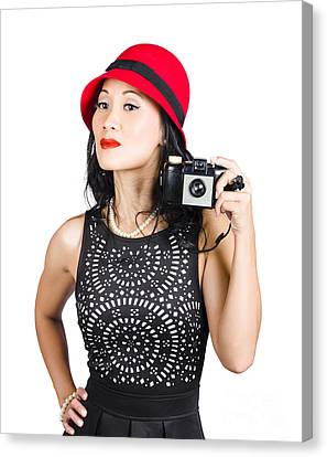 Woman With An Old Camera Canvas Print