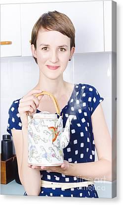 Woman With Asian Tea Pot Canvas Print