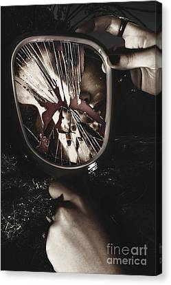 Woman With Broken Mirror And Shattered Reflection Canvas Print by Jorgo Photography - Wall Art Gallery