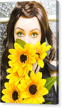 Woman With Flowers Canvas Print by Jorgo Photography - Wall Art Gallery