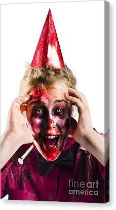 Woman With Horror Make Up And Party Hat Canvas Print by Jorgo Photography - Wall Art Gallery