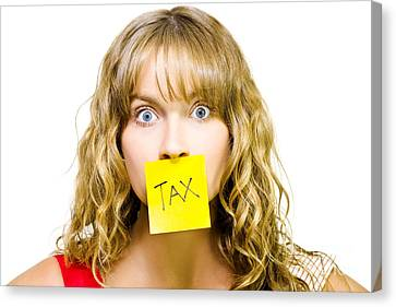 Sticky Note Canvas Print - Woman With Tax Note Over Mouth by Jorgo Photography - Wall Art Gallery
