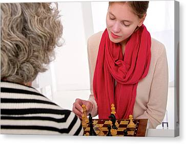 Women Playing Chess Canvas Print