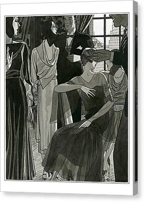 Stein Canvas Print - Women Wearing Designer Dresses by Pierre Mourgue