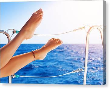 Women's Feet On The Yacht Canvas Print