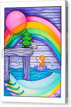 Woobies Character Baby Art Colorful Whimsical Rainbow Design By Romi Neilson Canvas Print by Megan Duncanson