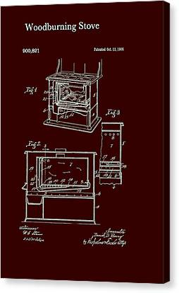 Wood Burning Stove Patent 1908 Canvas Print by Mountain Dreams