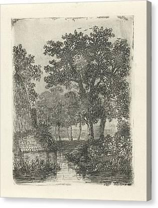 Wooded Area With Streams, Hermanus Jan Hendrik Van Canvas Print