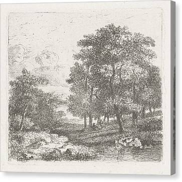 Wooded Landscape With Two Men Conversing Canvas Print by Hermanus Jan Hendrik Van Rijkelijkhuysen