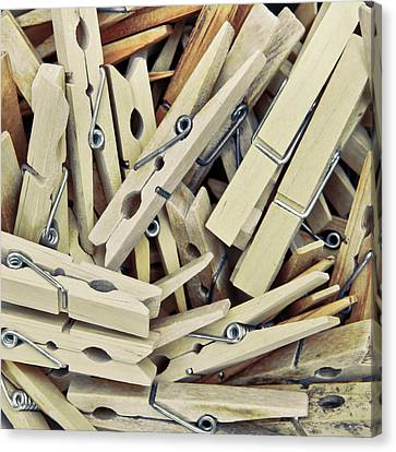 Attaching Canvas Print - Wooden Clothes Pegs by Tom Gowanlock