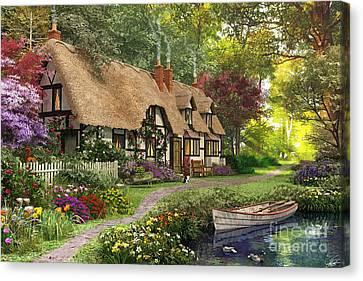Woodland Walk Cottage Canvas Print by Dominic Davison