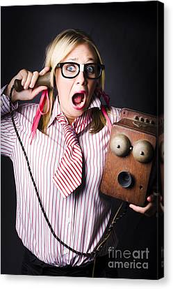 Shock Canvas Print - Worker In Shock During Bad News Communication by Jorgo Photography - Wall Art Gallery