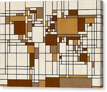 Abstract Map Canvas Print - World Map Abstract Mondrian Style by Michael Tompsett