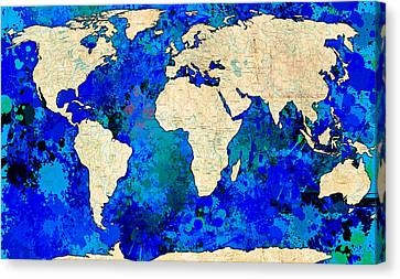 World Map Blue Canvas Print by Gary Grayson