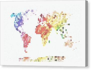 World Map In Circles Canvas Print