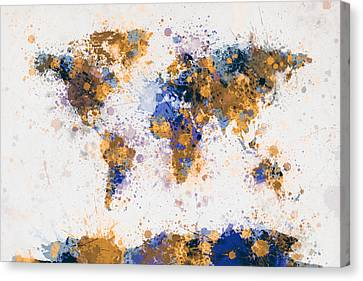 World Map Canvas Print - World Map Paint Splashes by Michael Tompsett