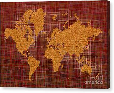 World Map Rettangoli In Orange Red And Brown Canvas Print