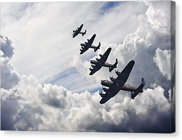 World War Two British Vintage Flight Formation Canvas Print by Matthew Gibson