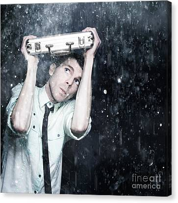 Worried Male Worker Running In The Pouring Rain Canvas Print by Jorgo Photography - Wall Art Gallery