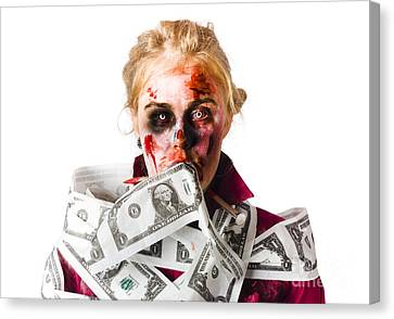 Worried Zombie With Dollar Bills Canvas Print by Jorgo Photography - Wall Art Gallery