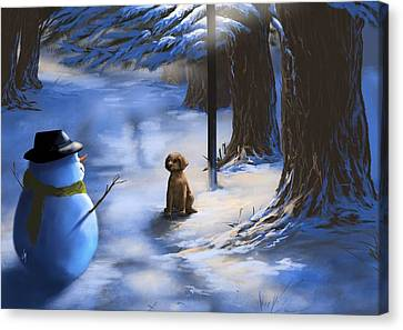 Snowscape Canvas Print - Would You Like To Play? by Veronica Minozzi