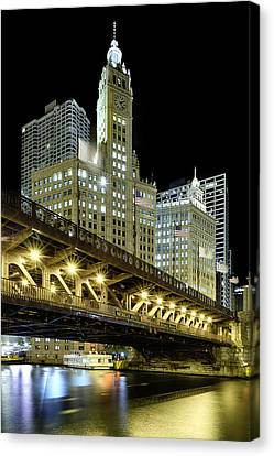Wrigley Building At Night Canvas Print