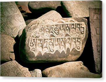 Milarepa Canvas Print - writing on the Tibetan language and Sanskrit at stone by Raimond Klavins