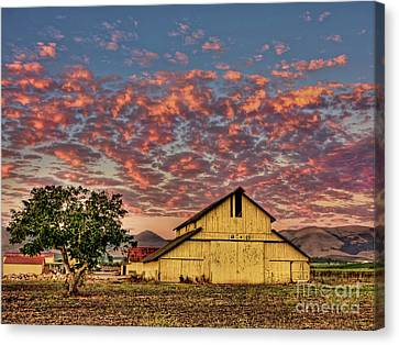 Old Country Roads Canvas Print - Yellow Barn by Beth Sargent