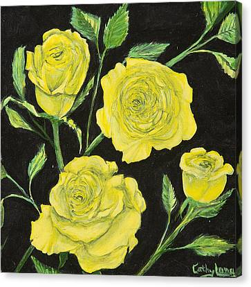 Canvas Print featuring the painting Yellow Roses by Cathy Long