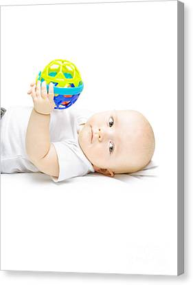 Young Baby Playing With Educational Toy Canvas Print by Jorgo Photography - Wall Art Gallery