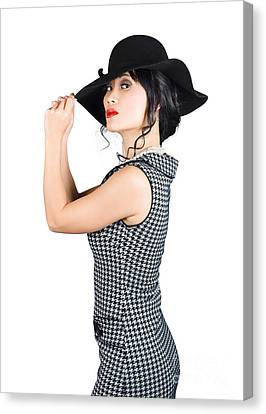 Disdainful Canvas Print - Young Beautiful Asian Brunette In Retro Dress by Jorgo Photography - Wall Art Gallery