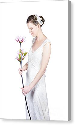 Young Bride With Flowers Canvas Print by Jorgo Photography - Wall Art Gallery