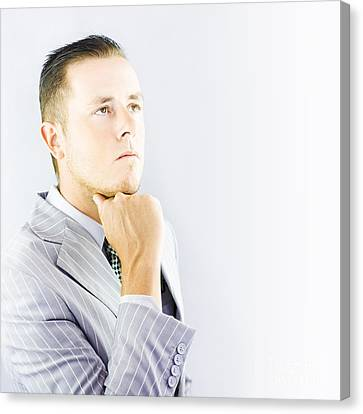 Youthful Canvas Print - Young Businessman Looking Thoughtful by Jorgo Photography - Wall Art Gallery